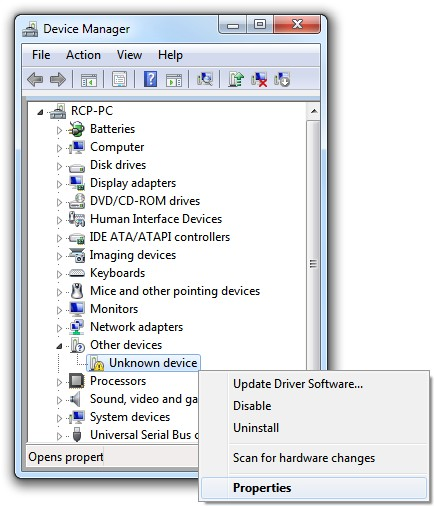 Unknown device in Device Manager